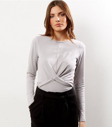 Pale Grey Twist Front Long Sleeve Top | New Look