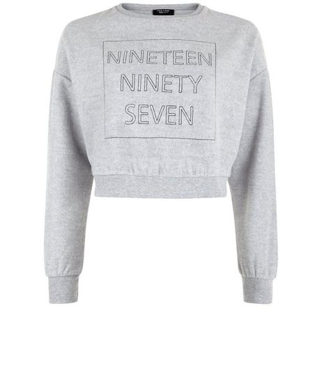Teens Grey Brushed Ninety Seven Cropped Sweater | New Look