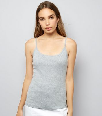 Grey Shoestring Strap Cami Top
