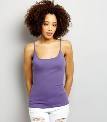 Purple Shoestring Strap Cami Top