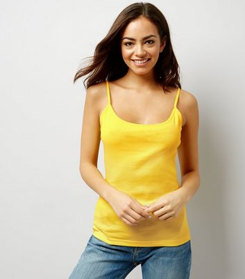 Yellow Shoestring Strap Cami Top