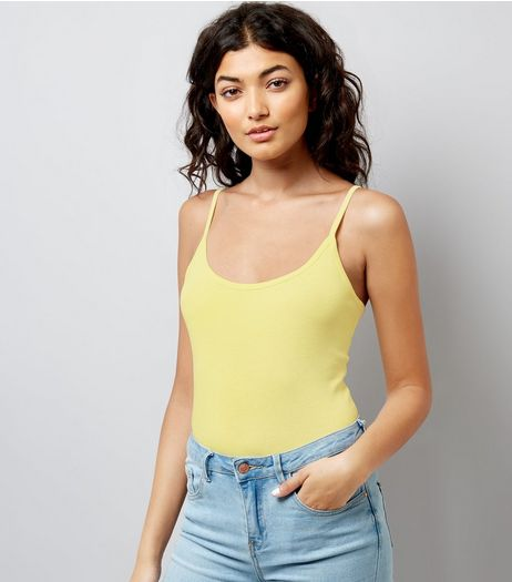 Pale Yellow Shoestring Strap Cami Top | New Look