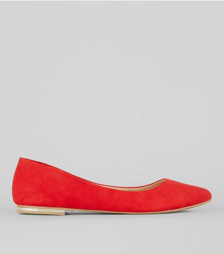 Red Soft Pointed Pumps | New Look