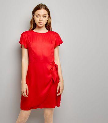 Red Frill Trim Tie Waist Wrap Front Skort Dress