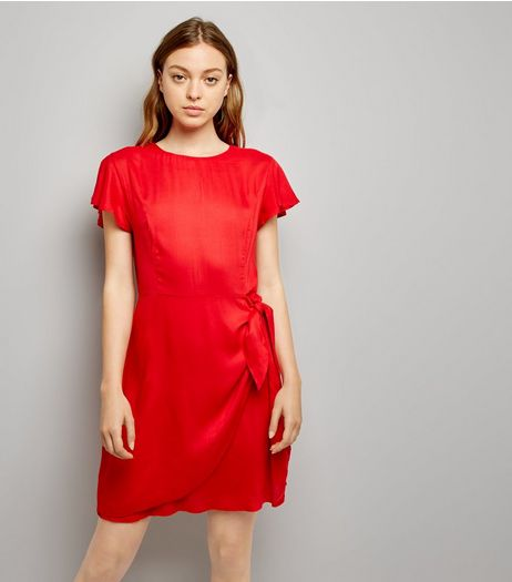 Red Frill Trim Tie Waist Wrap Front Skort Dress | New Look