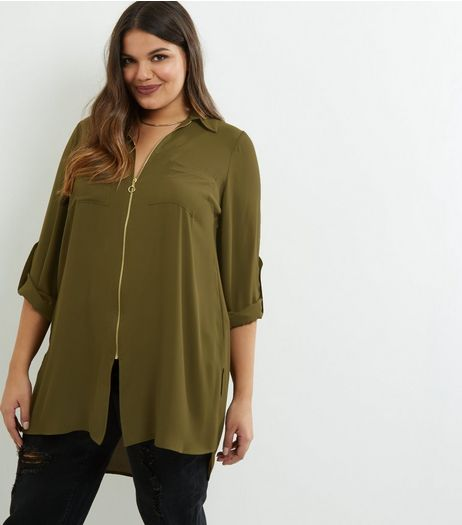 Curves Khaki Zip Front Longline Shirt | New Look