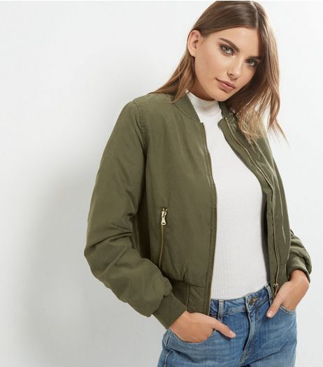 Blue Vanilla Khaki Ruched Back Bomber Jacket | New Look