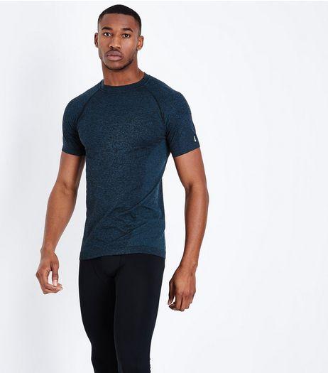 Blue Seamless Short Sleeve Sports T-Shirt | New Look