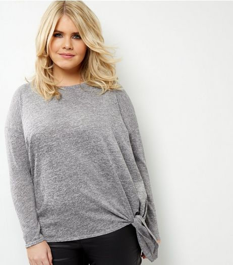 Curves Grey Fine Knit Tie Side Top | New Look