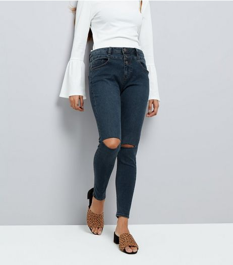 Petite Blue High Waist Ripped Knee Super Skinny Jeans | New Look