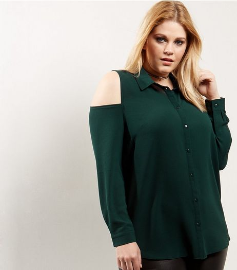 Curves Dark Green Cold Shoulder Shirt | New Look