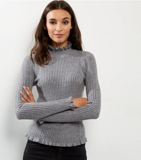 Blue Vanilla Pale Grey Cable Knit Frill Trim Jumper | New Look