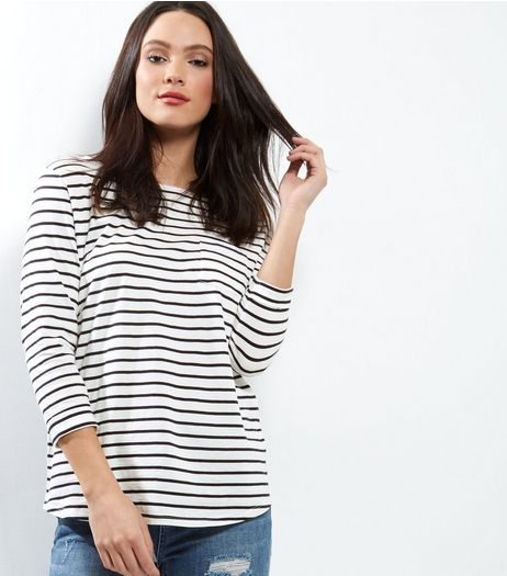 Tall Blue Stripe 3/4 Sleeve Top | New Look