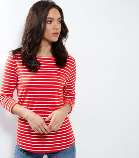Tall Red Stripe 3/4 Sleeve Top | New Look