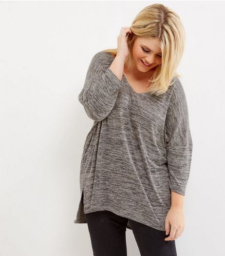 Curves Grey Fine Knit Lattice Back Top | New Look