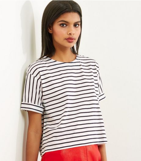 Petite Blue Stripe Boxy T-Shirt | New Look