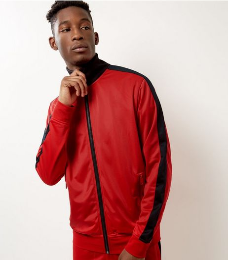 Red Side Stripe Funnel Neck Jacket  | New Look