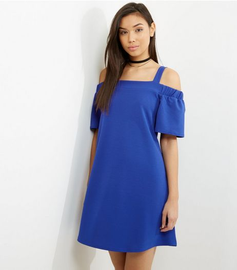 Tall Blue Crepe Bardot Neck Dress | New Look