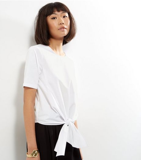 Petite White Knot Front Cotton Top | New Look