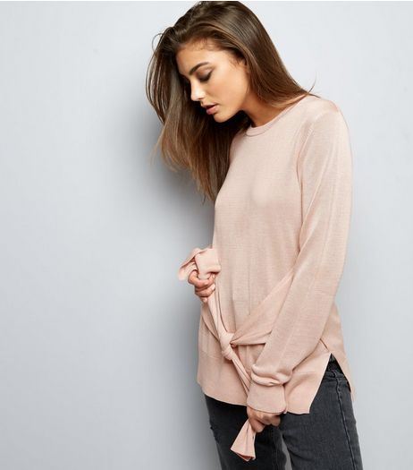 Shell Pink Tie Front Long Sleeve Jumper | New Look
