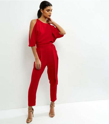 Red Cold Shoulder Jumpsuit | New Look