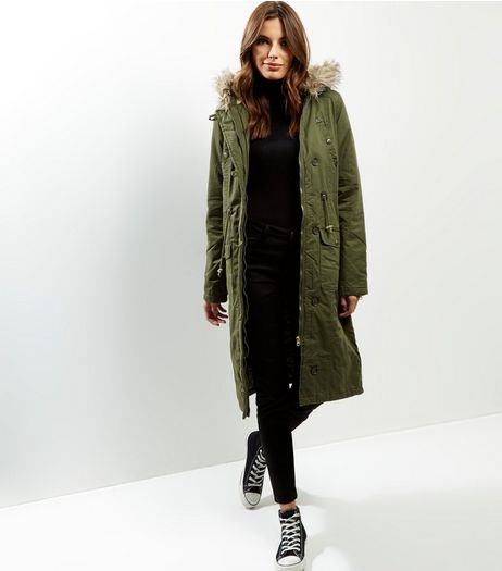 Khaki Faux Fur Trim Longline Parka | New Look