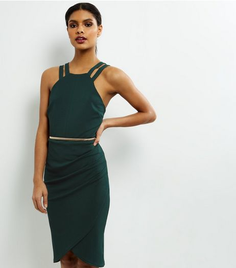 Dark Green Crepe Belted Wrap Front Dress | New Look