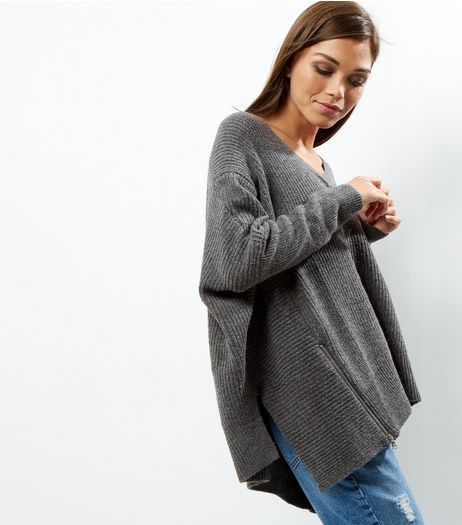Blue Vanilla Zip Trim Asymmetric Hem Jumper  | New Look