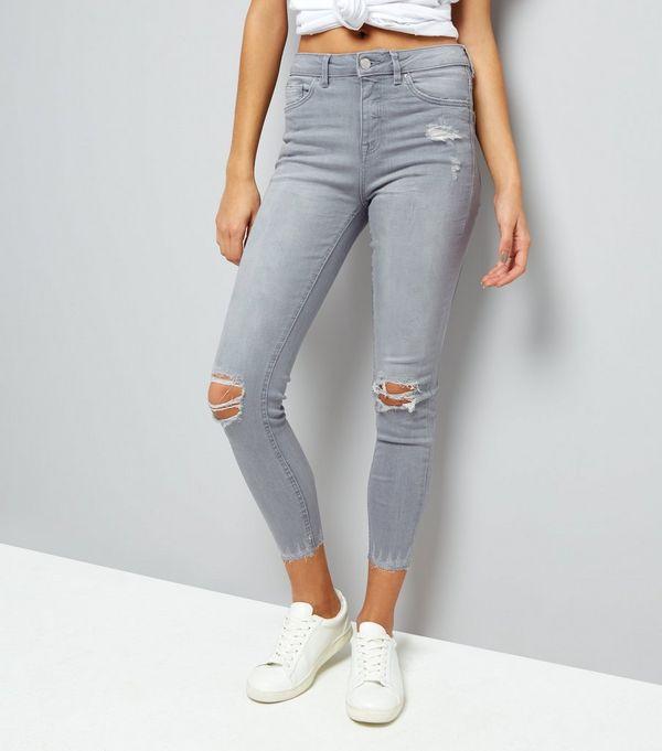 Grey Ripped Fray Hem Skinny Jenna Jeans