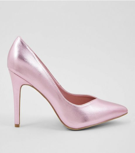 Wide Fit Pink Metallic Pointed Court Shoes | New Look