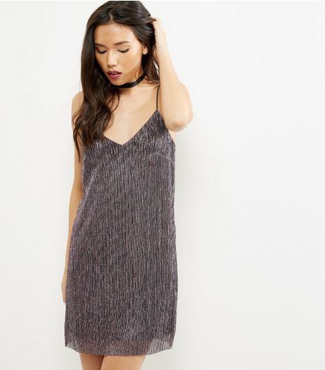 Shell Pink Metallic Pleated Slip Dress | New Look