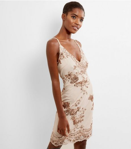 Shell Pink Sequin Strappy Bodycon Dress | New Look