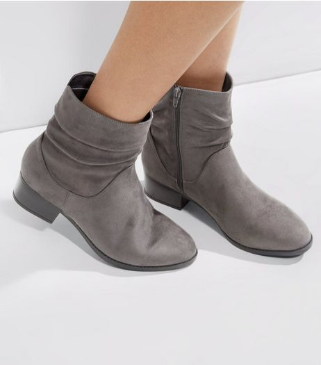 Grey Suedette Ruche Top Ankle Boots | New Look