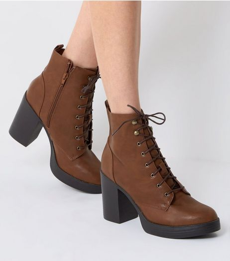 Tan Lace Up Boots | New Look
