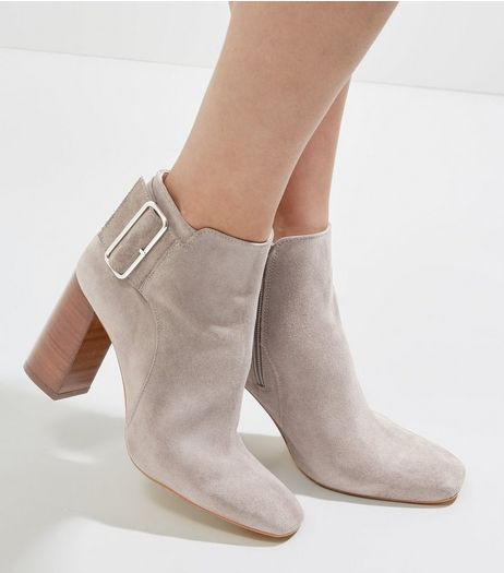Light Grey Suede Buckle Side Heeled Boots | New Look