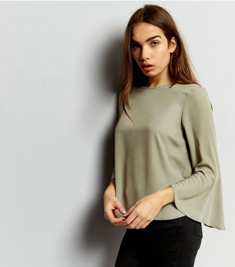 Khaki Bell Sleeve Top | New Look