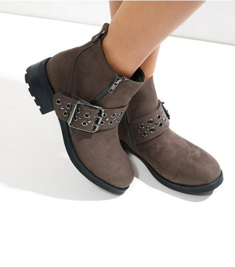 Grey Suedette Eyelet Biker Boots | New Look