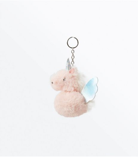 Pink Faux Fur Unicorn Pom Pom Keyring | New Look