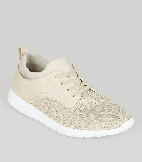 Stone Knitted Contrast Sole Trainers | New Look