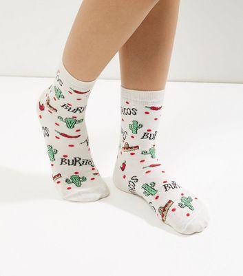 Cream Cactus And Chilli Print Socks