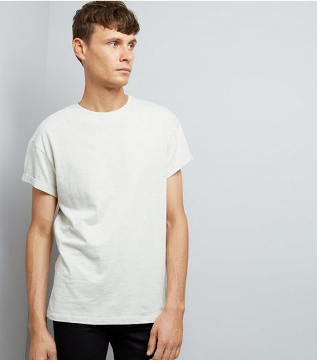 Pale Grey Cotton Rolled Sleeve T-Shirt | New Look