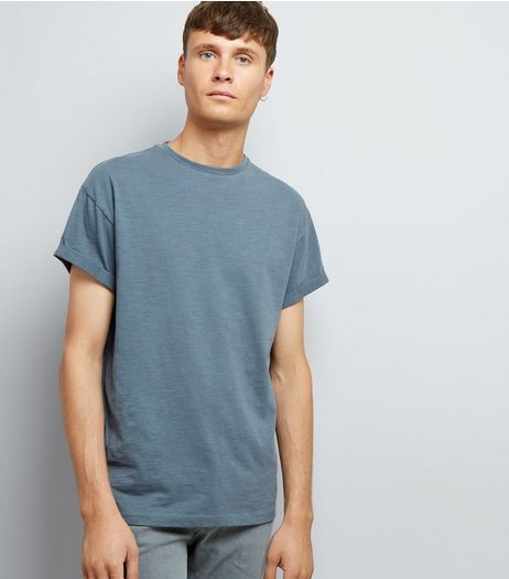 Grey Cotton Rolled Sleeve T-Shirt | New Look