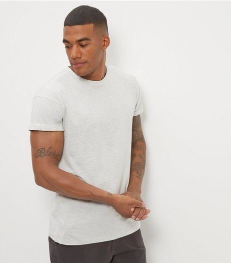 Cream Cotton Rolled Sleeve T-Shirt | New Look