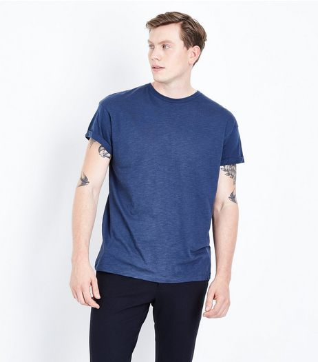 Navy Cotton Rolled Sleeve T-Shirt | New Look