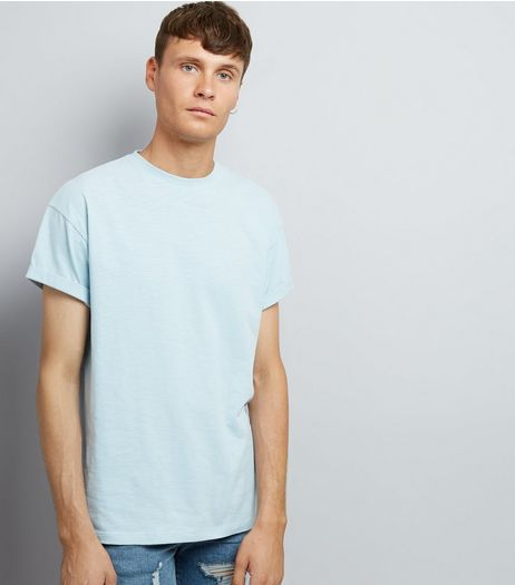 Pale Blue Cotton Rolled Sleeve T-Shirt | New Look