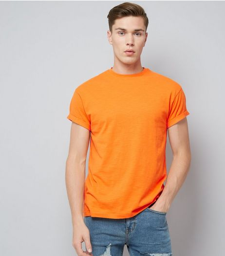Orange Cotton Rolled Sleeve T-Shirt | New Look