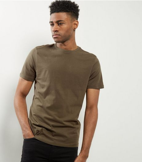 Khaki Cotton Crew Neck T-Shirt | New Look