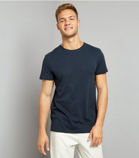 Dark Blue Crew Neck T-Shirt | New Look