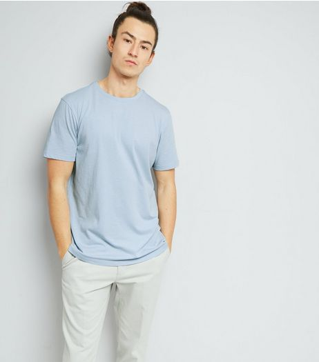 Pale Blue Cotton Mix Crew Neck T-Shirt | New Look