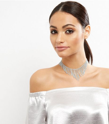 Silver Diamanté Drape Choker | New Look